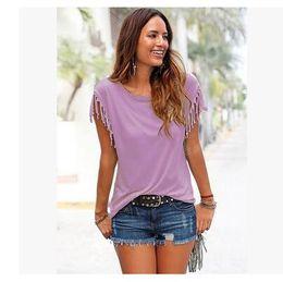 Girls Tassel Shirt Australia - Summer European Girl T-shirt Clothes Short Sleeved Tassels T-shirts For Women Wholesale Solid color Female T-shirts Free Shipping