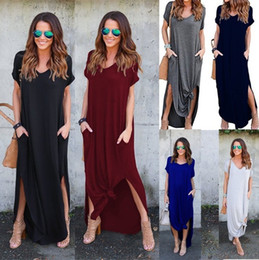 Wholesale 2019 New Summer Boho Casual Long Maxi Evening Party Beach Dress Sundress Collar Beach Long Skirts Sexy Woman Dress colors