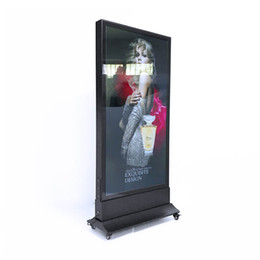 Picture frames led lights online shopping - 60 cm Merchandising Picture Frame Led Advertise Floor Stand Light Box with Base Wheels Wooden Case Packing