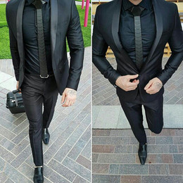 White Suits For Men Black Pants Australia - Black Shawl Lapel Men Suits for Wedding Man Business Suits One Button Groom Tuxedos 2Piece (Coat+Pants) Slim Fit Costume Homme Prom Party