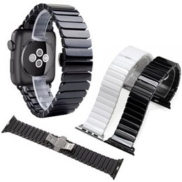 CeramiC braCelet watCh band online shopping - Black White Glossy Ceramic Watch Band Strap for Apple Watch iwatch mm Link Bracelet Butterfly Buckle