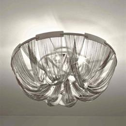$enCountryForm.capitalKeyWord Australia - Modern Style Silver Cloth Art Pendant Lamp Engineering Design Luxury Chain Tassel Aluminum Chain LED Beautiful Pendant Lights LLFA