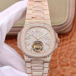 Power Reserve Men Sport Watches Australia - Luxury Tourbillon Mechanical Watches For Men R8 Top Quality Full Diamand Wristwatch Mens 5719 Nautilus Sport Watch