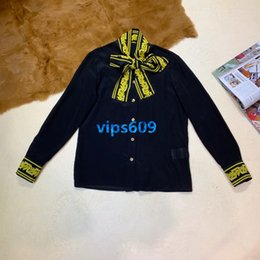 $enCountryForm.capitalKeyWord Australia - Women girls Knit cardigan tie neck Button Shirt Geometric patterns Casual Luxury Coat Female Women Sweater Long Sleeve Cardigan tee