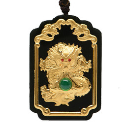 $enCountryForm.capitalKeyWord Australia - Fine Jewelry 24K Gold Chinese Dark Green Jade Dragon Pendant Rope Necklace Mens Jewelry Luxury Jewelry
