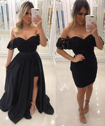 $enCountryForm.capitalKeyWord NZ - Sexy Off Shoulders Black Prom Dresses With Overskirts Open Front Short Cocktail Homecoming Dresses Elegant Corset Robes de cocktail 2019