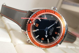 Orange Bezel Canada - Luxury Top Quality Watch 43.5mm Planet Ocean Co-Axial 600M Orange Ceramic Bezel Rubber CAL.8900 Movement Mechanical Automatic Mens Watches