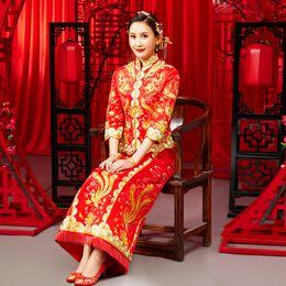 8aa283cf0 Dragon gown wedding dress chinese style Btide costume Phoenix cheongsam  evening dress show clothing slim Style for the Wedding