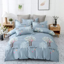 pink floral king size bedding set NZ - Twins Tree Bedding Set King Size Romantic Love Light Blue Floral Duvet Cover Queen Single Double Full Twin Soft Bed Cover with Pillowcase