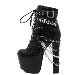 Boot Heel Chains Australia - Zip Metal Chains Rivet Motorcycle Boots Women Shoes Super High Heels 16CM Platform Ankle Boots Punk Rock Gothic Biker Boots