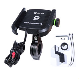 motorcycle cell phone charger 2019 - motorcycle phone holder handlebar stand cell phone mount with usb charger stand fast charging qc3.0 car discount motorcy