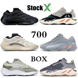 solid blue running shoes NZ - 700 V3 Azeal Alvah Gid Kanye West Designer Shoes Magner Carbon Hospital Blue Static Mauve Wave Mens Women Inertia Solid Grey Running Shoes