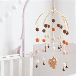baby rattles Australia - 1 set Baby Mobile Bed bell Silicone Beads Beech Wood Bird Rattles Kids Room Bed Hanging Decor wood rodent Children Products Toys T200429