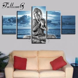 blue sea paintings Australia - wholesale 5 piece diy 5d diamond painting buddha statue & blue sea full square round drill mosaic embroidery picture decor FC836