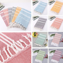 Wholesale colorful Turkish towel Striped beach towels Cotton Bath Towels Gift Spa Gym Yoga Beach towel Toilet Supplies X180cm