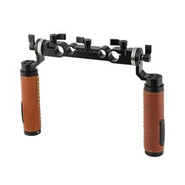 15mm rod camera Australia - CAMVATE ARRI Style Rosette Handgrip Pair (Leather) With 15mm & 19mm Rod Clamp For Shoulder Mount Rig Item Code: C2311