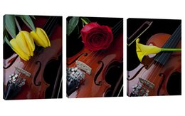 $enCountryForm.capitalKeyWord Australia - Amosi Art 3 Pieces Canvas Wall Art Violin Print Musical Instruments Painting Modern for Home Living Room Decoration Stretched Framed