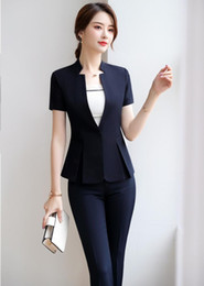 $enCountryForm.capitalKeyWord Australia - 2019 Summer Short Sleeve Women Business Suits With Pants and Tops Uniform Styles Office Ladies Blazers Suits Pants