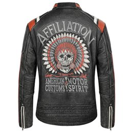 skulls motorcycles NZ - 2019 Vintage Black Men Skull Embroidery American Motorcycle Leather Jacket Plus Size XXXXXL Genuine Thick Cowhide Biker's Coat