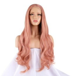 Long Hair Wave Style Australia - New Style Long Pink Color Body Wave Wig Middle Part Lace Front Wigs with Baby Hair 180% Density Glueless Synthetic Wigs For Women