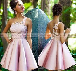 $enCountryForm.capitalKeyWord Canada - Dorable 2019 Dusky Pink Satin Homecoming Dresses White Appliques Cocktail Party Gowns Sheer Back Short Prom Formal Dress vestidos de fiesta