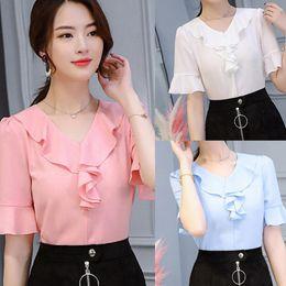 2020 Summer Women Elegant Chiffon Casual Shirt Female Stylish Flounce Top Solid Color V-Neck Ruffle Trim Blouse