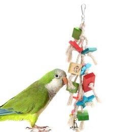 Chinese  Parrot toy supplies Gnaw Colour Wood Bird feeder Toys cage cockatiel chicken manufacturers