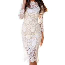 $enCountryForm.capitalKeyWord NZ - 2019 New Women Sexy Bodycon Dress Half Sleeve Crochet Flower Women White Lace Dress Vestidos Summer Robe Femme