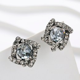 $enCountryForm.capitalKeyWord NZ - Luxury Crystal Piercing Stud Earrrings For Women 2019 Fashion Pendientes Mujer Black Statement Earring Vintage Ear Clip Brincos