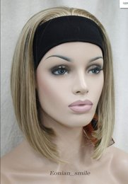 Blonde half wigs online shopping - WIG Fashion Light Brown Blonde Mixed Cute with headband Women half Wig Hivision