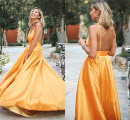 Satin Spaghetti online shopping - Modern Prom Dresses Spaghetti Backless Sweep Train Plus Size Special Occasion Dresses Formal Party Evening Gowns Sexy Vestidos De Fiesta