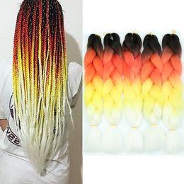 "$enCountryForm.capitalKeyWord Australia - Wholesale Price Ombre Kanekalon Braiding Hair For Crochet Braids False Hair Extensions Synthetic Jumbo Braiding 24"" Four Colors Xpression"