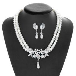 Imitation Pearl Jewelry Sets Australia - Romantic Bride Wedding Jewelry Set Imitation Pearl Necklace Earrings Pendant Simple Silver Plated Alloy Rhinestone Accessories Wholesale
