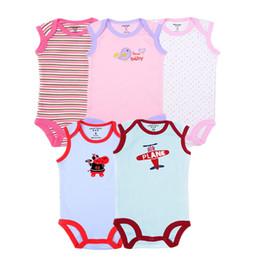 $enCountryForm.capitalKeyWord Australia - 5pcs lot Baby Girls Bodysuit 100% Cotton Infant Body Sleeveless Climbing Clothing Cartoon Printed Jumpsuits Baby Boys Bodysuits Y19061201
