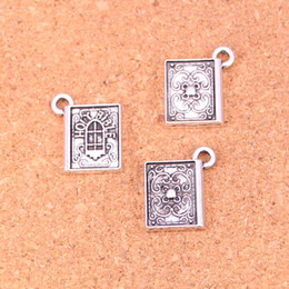 making books UK - 52pcs Charms book holy bible Antique Silver Plated Pendants Making DIY Handmade Tibetan Silver Jewelry 13*15mm