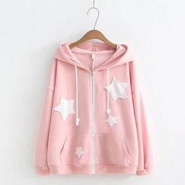 japanese flowers print UK - Japanese-style Mori Girl Line College Style Cartoon Five-pointed Star Pattern Printed Hoodie Women's Cardigan Coat