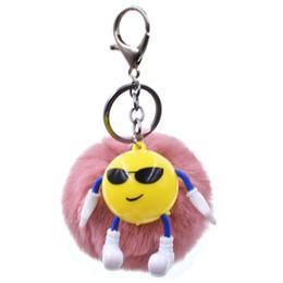 $enCountryForm.capitalKeyWord Australia - Key Chain Cartoon Smiling Face Fur Bal Keychain Artificial Rabbit Fur Animal For Woman Car Bag Keyring