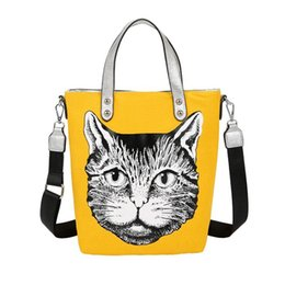 wholesale cotton beach totes NZ - Large Black Canvas Tote Bag Fabric Cotton Cloth Reusable Shopping Bag Women Beach Handbags Cats Printed Grocery Bags Big