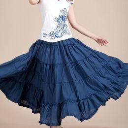 e1390411d7 Sexemara 2019 Korean Beach Mid Umbrella Long Skirts Summer Femininas Candy  Color Maxi Chiffon Skirt Elastic Waist Pleated Skirts J190427