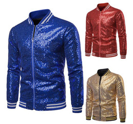 sequins suits for men Australia - Men Sparkly Sequins Jacket Blazer Suit Casual Coat Women Ribbed Bomber Jacket for Party Wedding Banquet Prom S -XXL gold blue silver red