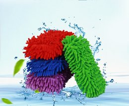 Chenille Towels Wholesale Australia - 6 Colors Car Washing Sponge Glove Microfiber Chenille Sponge Duster Motorcycle Truck Cleaning Cloth Tool Home Window Desk Dust Cleaing Towel
