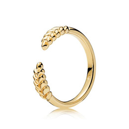 Pandora Gold 18k Australia - 18K Yellow Gold RING Set Original Box for Pandora Real 925 Silver Open grain Fashion Luxury Gift Ring For Women