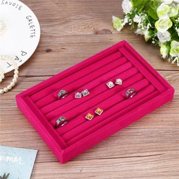 Caskets Rings NZ - Portable Velvet Jewelry Ring Earring Insert Display Cufflinks Organizer Box Showcase Plate Jewelry Box Casket for Decoration
