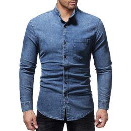 Hemden Gerade 3 Farben 2019 Neue Männer Casual Denim Shirt Mode Casual Baumwolle Slim Fit Cowboy Langarm Hemd Männlich Marke Kleidung