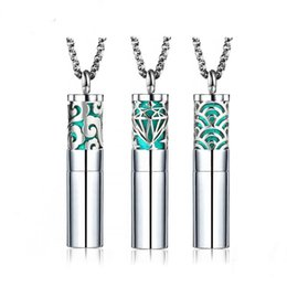 aroma essential oil bottle wholesale UK - 2019 Couple Necklace Stainless Steel Jewelry Open Aroma Essential Oil Necklace Titanium Steel Perfume Bottle Pendant