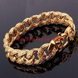 "$enCountryForm.capitalKeyWord NZ - Popular Biker Men's 15mm Wide Gold Stainless Steel Curb Cuban Link Chain Casting Bracelet Jewelry Flower Clasp 9"" Y19051002"