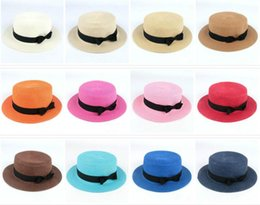 straw boater hats UK - Man Women Straw Hat Summer Beach Hats Children And Adult Size Flat Top Straw Hat Men Boater Hats Flat Bowler Hat