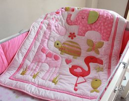 Cotton Cot Bumpers Australia - Hot Selling Baby Cuna Quilt Girl Crib bedding set 100% Cotton Cot Bumper set for girl infant Embroidery The home of flamingos