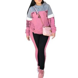 Pink Clothing Women UK - 1029#Women Sport Tracksuit Hoodies + Pants 2 Piece Woman Set Outfit Hollow Out Solid Color Womens Sweat Suits Sweatsuits Clothes Clothing