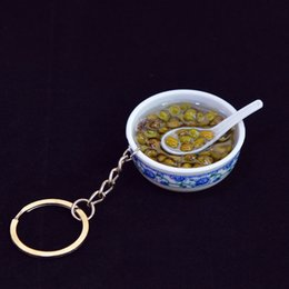 $enCountryForm.capitalKeyWord Australia - 5 Pieces DIY Handmade Creative Keychain Porcelain Bowl Keyrings Chinese Food Llaveros Bag Pendant Baby Educational Toys for Children Gift